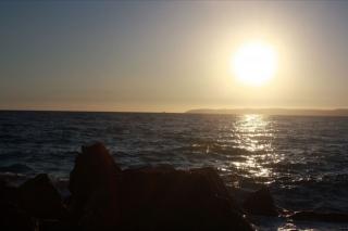 Zonsondergang op Koroni Beach.